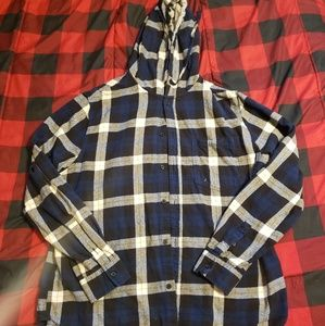Long sleeve button down w/ hood